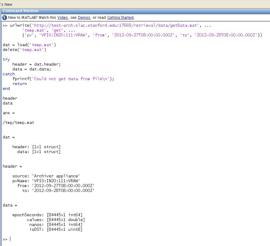 EPICS Archiver Appliance - Matlab Integration